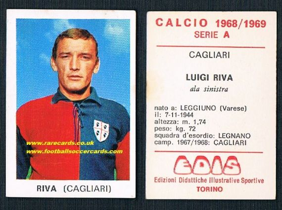 1968 Edis Calcio 1968 Luigi Riva Cagliari unused italian sticker